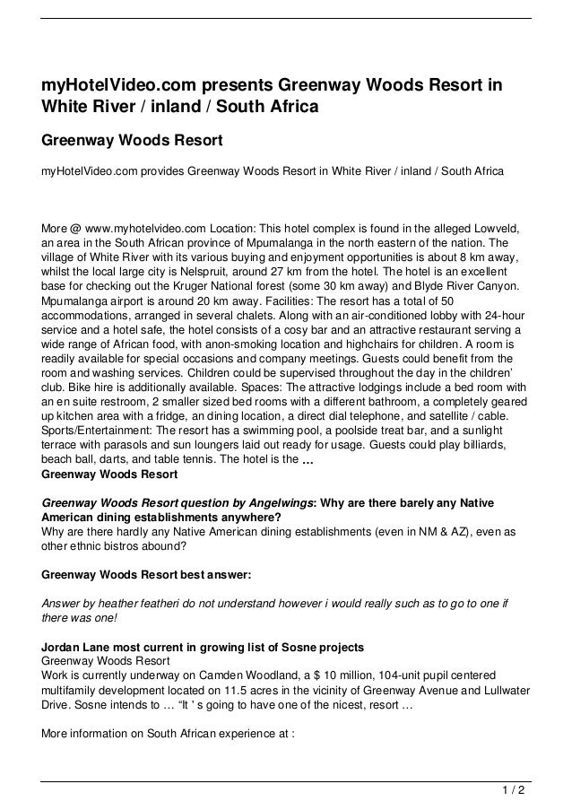 myHotelVideo.com presents Greenway Woods Resort inWhite River / inland / South AfricaGreenway Woods ResortmyHotelVideo.com...