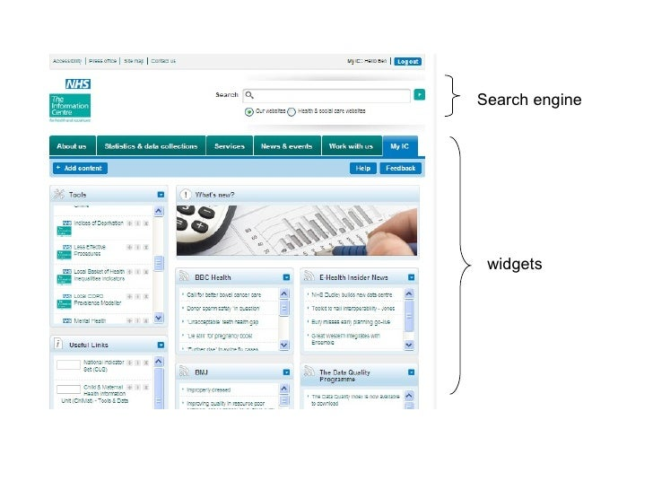 Search engine widgets
