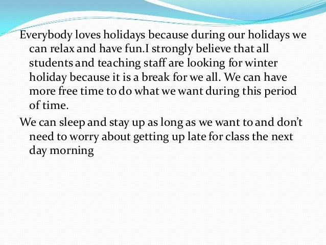 Essay of holiday planning