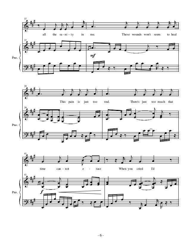 All Music Chords fall for you sheet music : My immortal evanescence piano sheet music