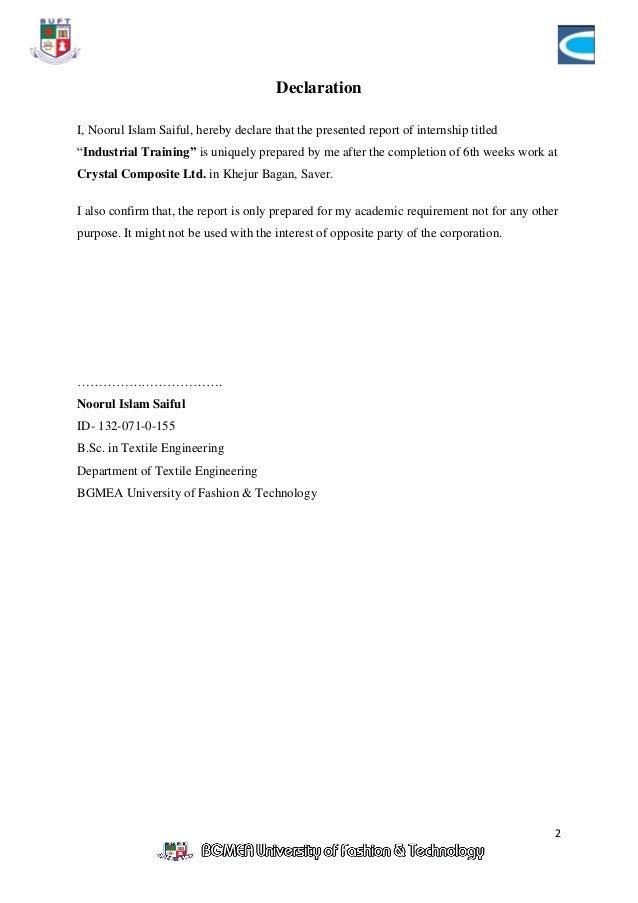 Internship Report On Textile Industry Pdf