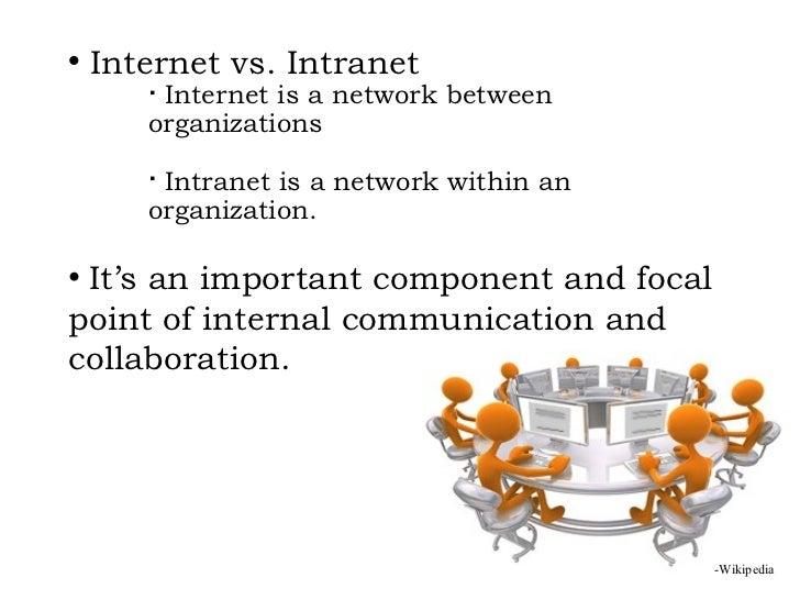 <ul><ul><li>Internet vs. Intranet   </li></ul></ul><ul><ul><ul><ul><li>Internet is a network between  organizations </li><...