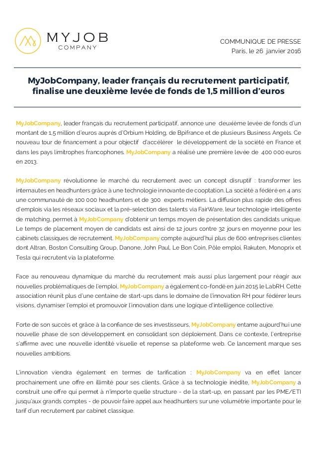 MyJobCompany, leader français du recrutement participatif, finalise une deuxième levée de fonds de 1,5 million d'euros COMM...