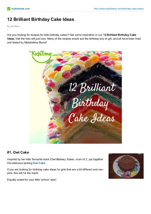 Mykidstime 12 Brilliant Birthday Cake Ideas