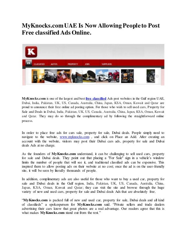 MyKnocks com UAE Is Now Allowing People to Post Free classified Ads O…