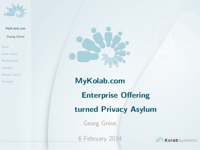 MyKolab.com Georg Greve Start Early Days Earthquake Lessons What's next? Contact MyKolab.com Enterprise Offering turned Pri...