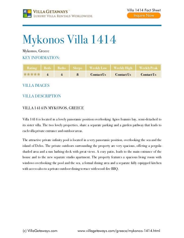 Villa 1414 Fact SheetMykonos Villa 1414Mykonos, GreeceKEY INFORMATION:   Rating       Beds      Baths       Sleeps      We...