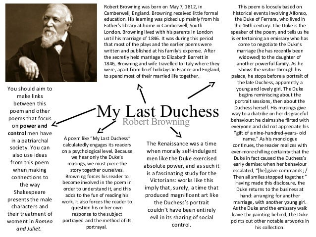 robert brownings my last duchess My last duchess is a poem by robert browning, frequently anthologised as an example of the dramatic monologue it first appeared in 1842 in browning's dramatic lyrics the poem is written in 28 rhyming couplets of iambic pentameter.