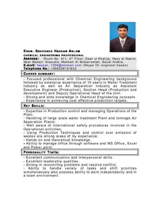 chemical engineering cv - Roho.4senses.co