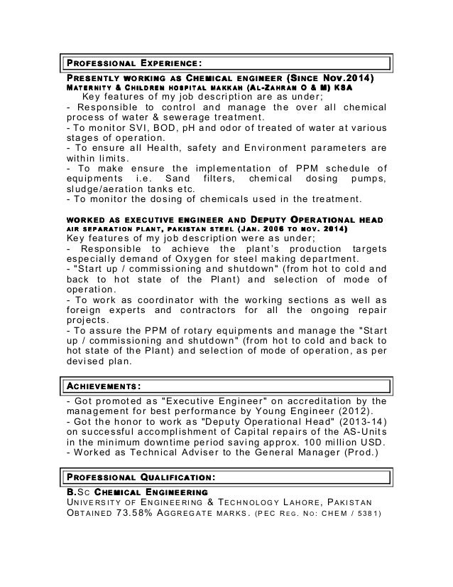 my latest cv as chemical engineer in pdf