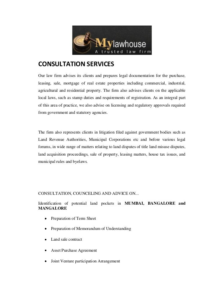 CONSULTATION SERVICESOur law firm advises its clients and prepares legal documentation for the purchase,leasing, sale, mor...