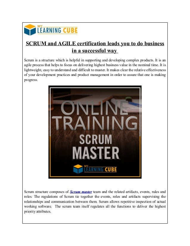 Mylearningcube Scrum Master Certification