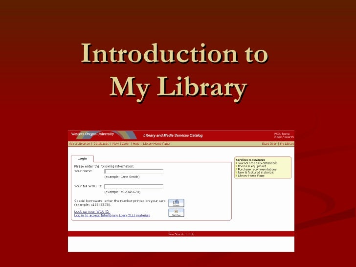 Introduction to  My Library