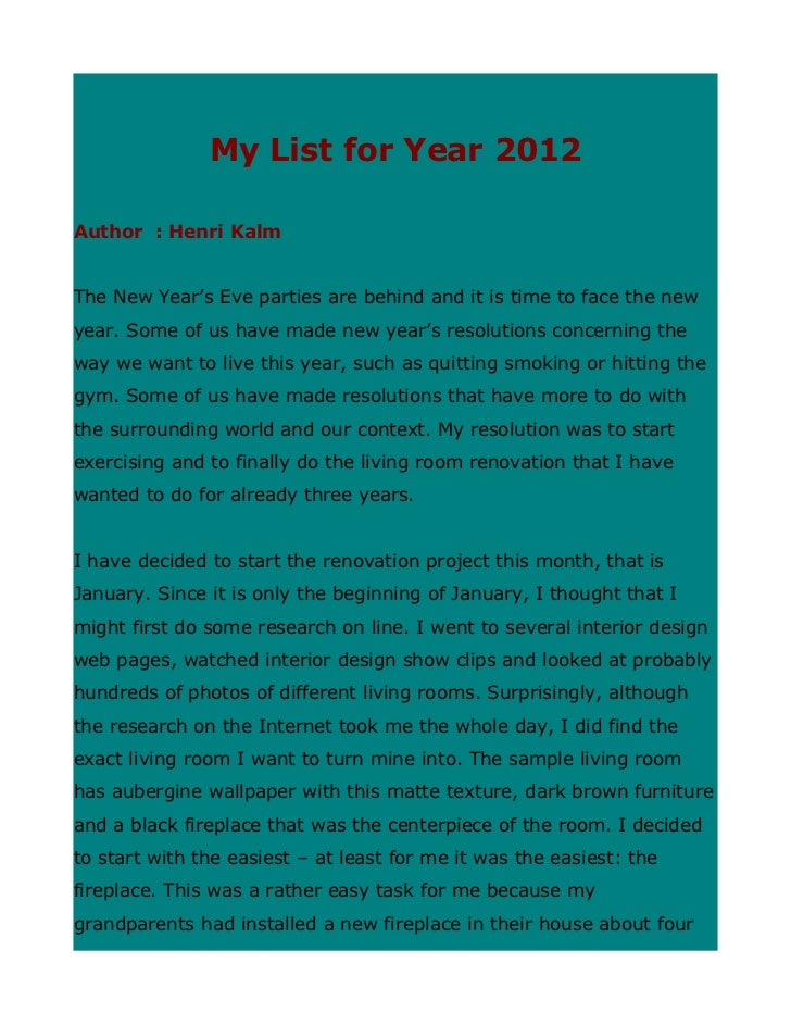 My list for year 2012