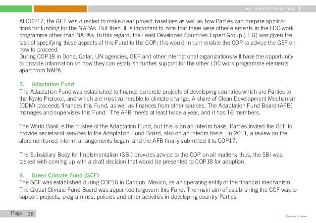 My Little COP Pocket Book   The World Bank was also appointed as the interim trustee of the Global Climate Fund. This arra...