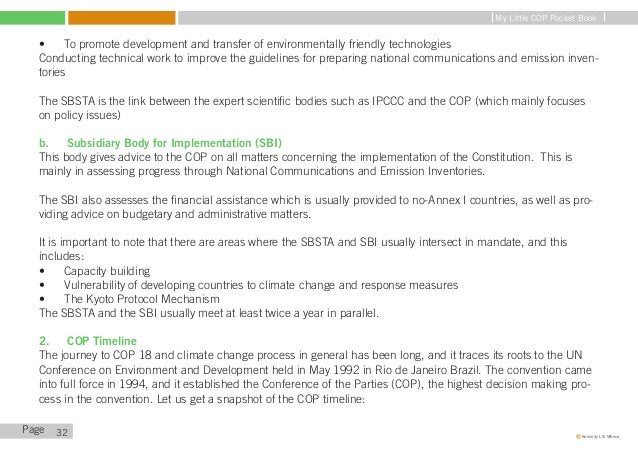 My Little COP Pocket Book   COP 1: Establishing the Basics   The 1st COP (COP 1) was held in Berlin in 1995, and it aimed ...
