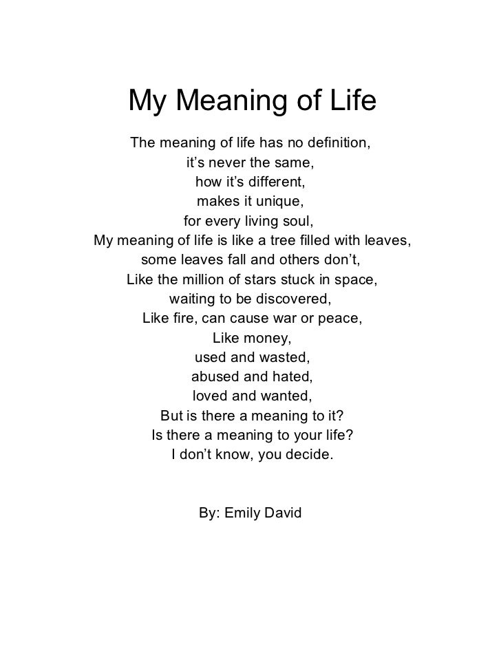 My Meaning of Life    The meaning of life has no definition,                it's never the same,                   how it'...