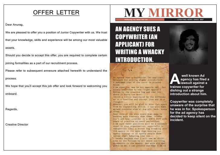 OFFER LETTER                                                 MY MIRROR                                                    ...
