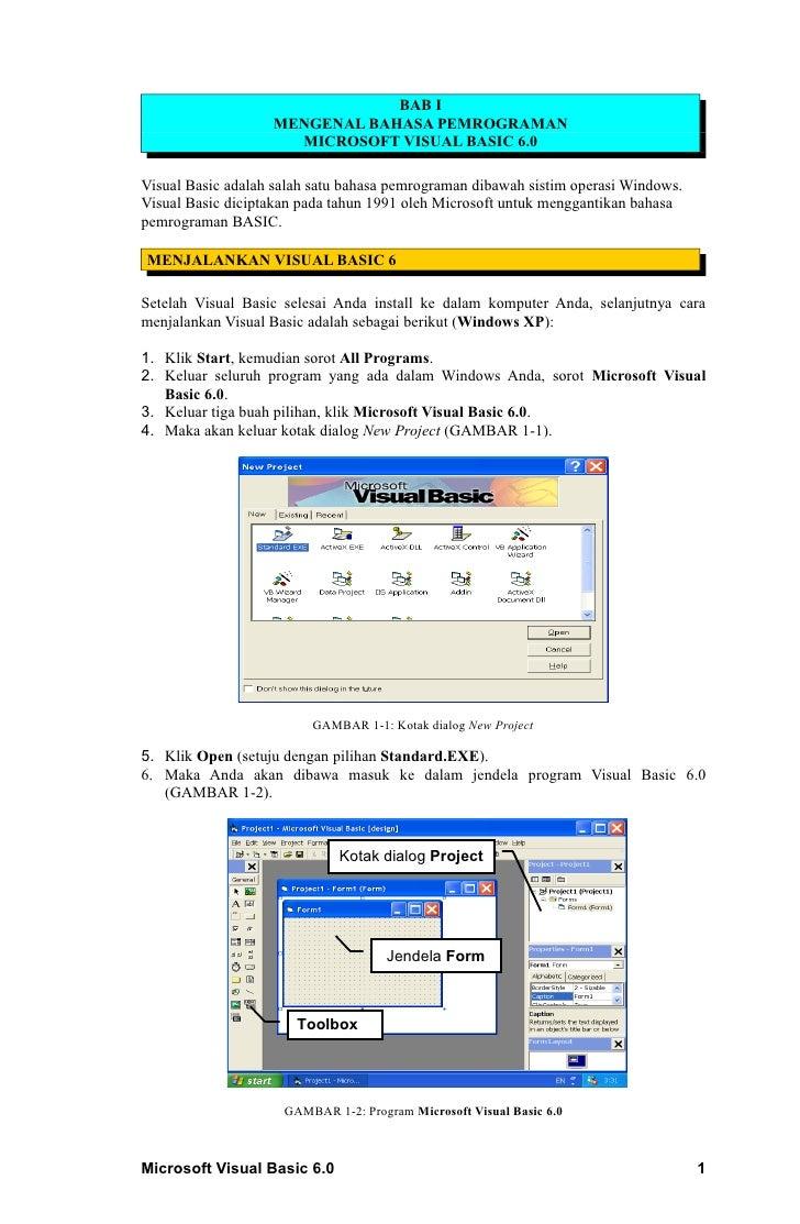 BAB I                   MENGENAL BAHASA PEMROGRAMAN                     MICROSOFT VISUAL BASIC 6.0Visual Basic adalah sala...