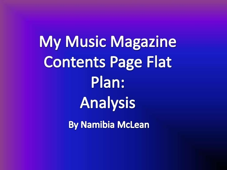 My music magazine contents page flat plan: analysis