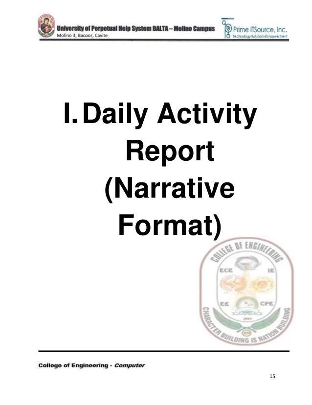 Ojt Narrative Report