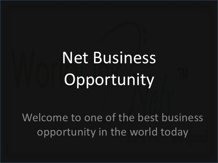 Net Business       OpportunityWelcome to one of the best business  opportunity in the world today