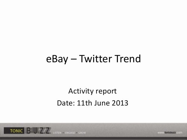 eBay – Twitter Trend Activity report Date: 11th June 2013