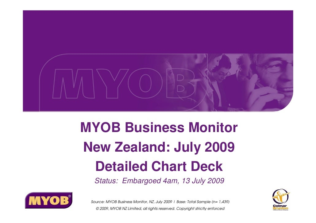 MYOB Business Monitor New Zealand: July 2009  Detailed Chart Deck   Status: Embargoed 4am, 13 July 2009   Source: MYOB Bus...