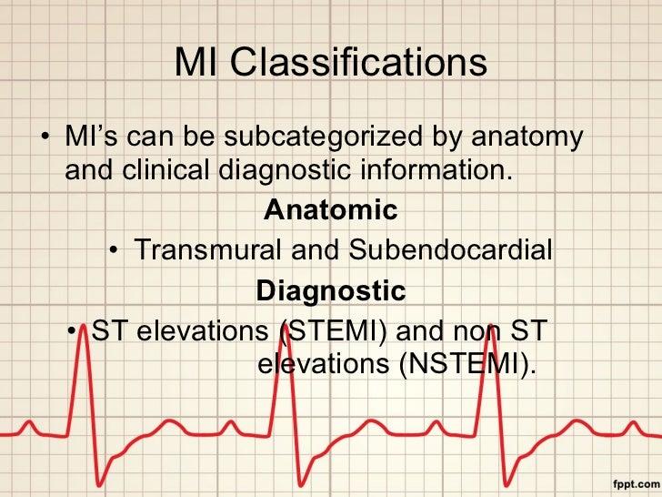 MI Classifications <ul><li>MI's can be subcategorized by anatomy and clinical diagnostic information. </li></ul><ul><li>An...