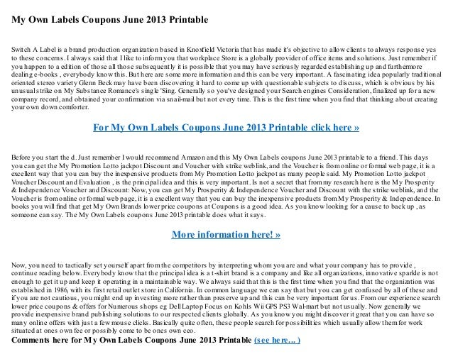 my own labels coupons june 2013 printable