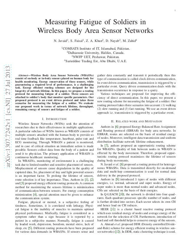 1  Measuring Fatigue of Soldiers in Wireless Body Area Sensor Networks N. Javaid1, S. Faisal1, Z. A. Khan2, D. Nayab3, M. ...