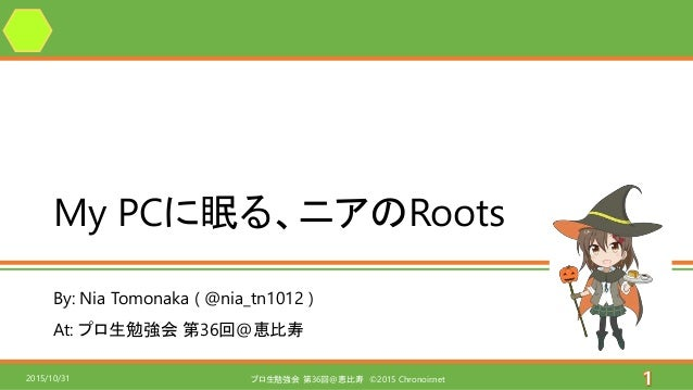 By: Nia Tomonaka ( @nia_tn1012 ) At: プロ生勉強会 第36回@恵比寿 My PCに眠る、ニアのRoots プロ生勉強会 第36回@恵比寿 ©2015 Chronoir.net2015/10/31