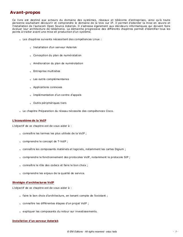 AvantproposCe livre est destiné aux acteurs du domaine des systèmes, réseaux et télécoms d'entreprises, ai...