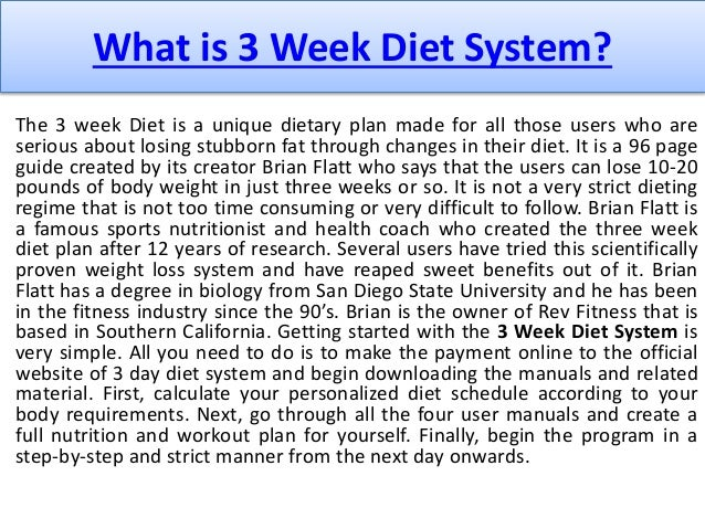 My personal 3 week diet system review