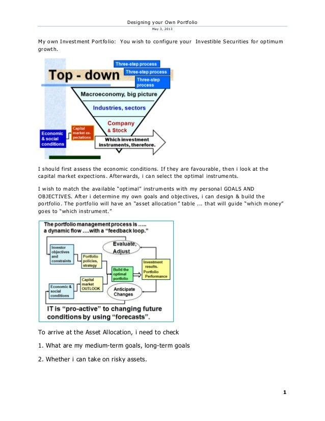 Designing your Own PortfolioMay 3, 20131My own Investment Portfolio: You wish to configure your Investible Securities for ...