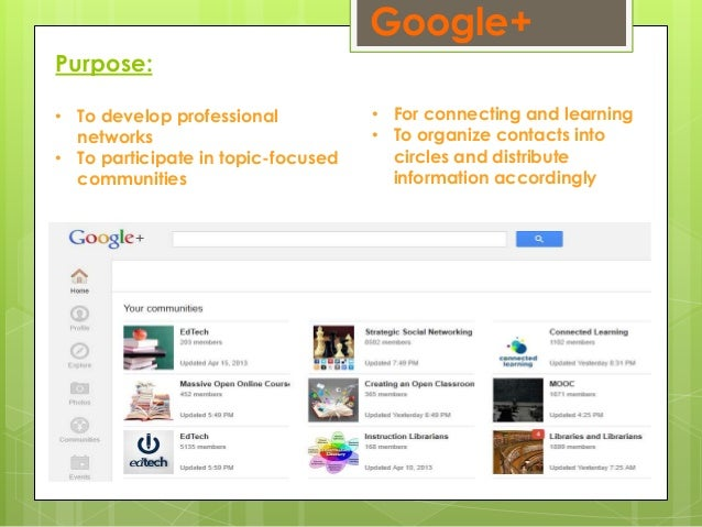 Google+ Purpose: • To develop professional networks • To participate in topic-focused communities • For connecting and lea...