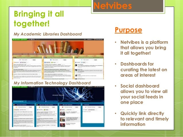 Netvibes Bringing it all together! Purpose • Netvibes is a platform that allows you bring it all together! • Dashboards fo...