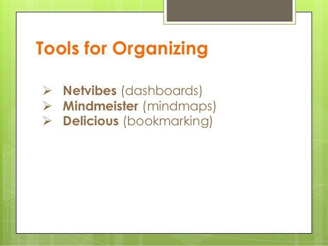Tools for Organizing  Netvibes (dashboards)  Mindmeister (mindmaps)  Delicious (bookmarking)