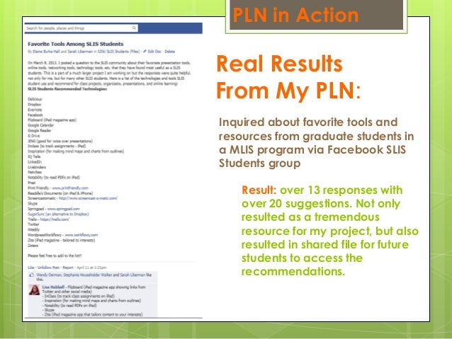 Real Results From My PLN: Inquired about favorite tools and resources from graduate students in a MLIS program via Faceboo...