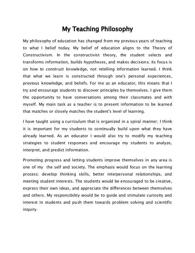 my teaching philosophy summary