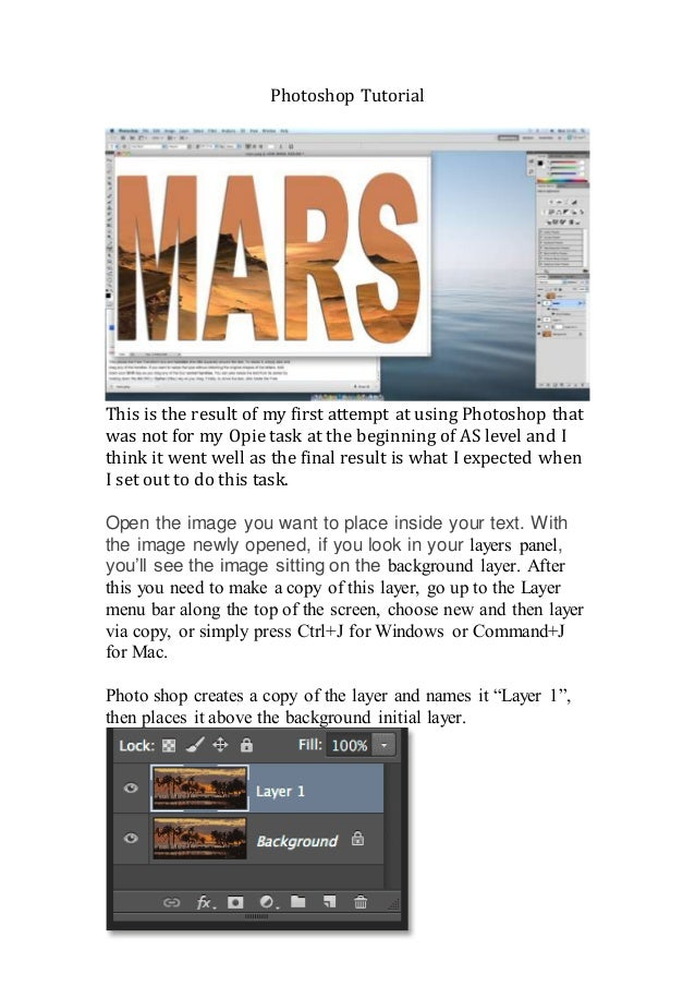 Photoshop Tutorial This is the result of my first attempt at using Photoshop that was not for my Opie task at the beginnin...