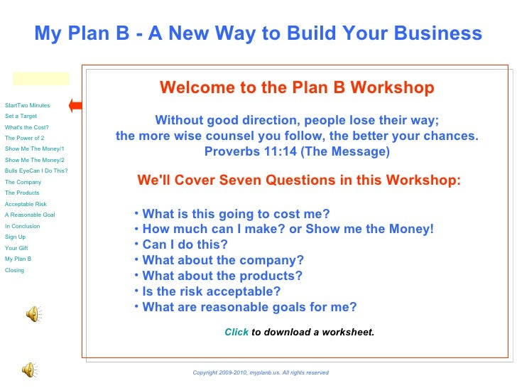 Welcome to the Plan B Workshop Without good direction, people lose their way; the more wise counsel you follow, the better...