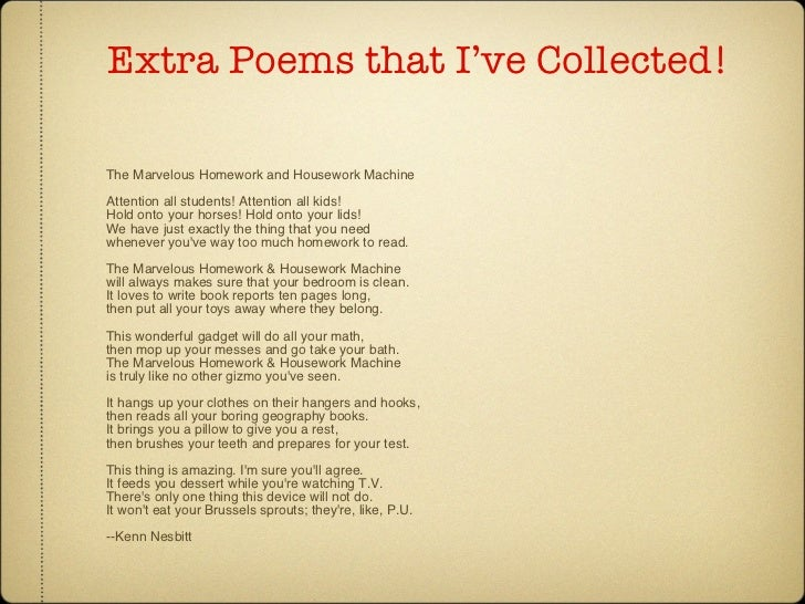 the marvelous homework and housework machine poem