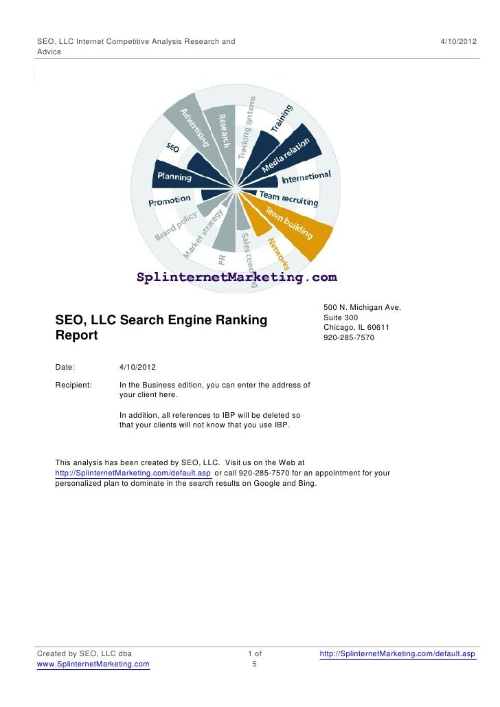 SEO, LLC Internet Competitive Analysis Research and                                                           4/10/2012Adv...