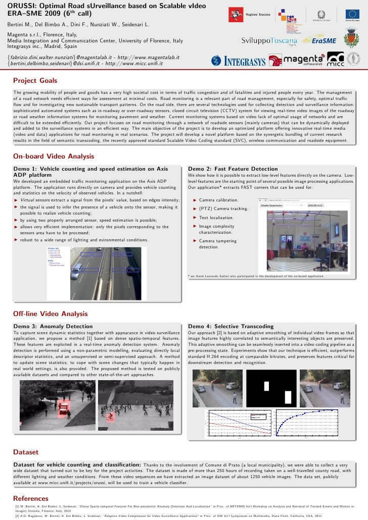 ORUSSI: Optimal Road sUrveillance based on Scalable vIdeoERA–SME 2009 (6th call)Bertini M., Del Bimbo A., Dini F., Nunziat...