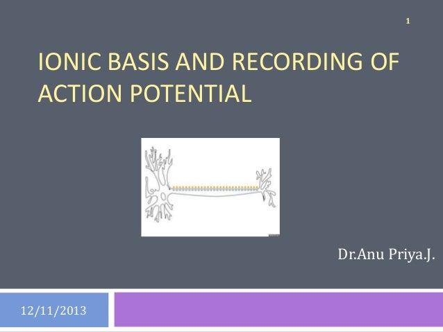 1  IONIC BASIS AND RECORDING OF ACTION POTENTIAL  Dr.Anu Priya.J.  12/11/2013