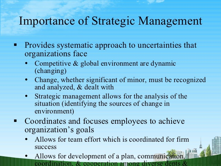 the use of strategic management techniques A thorough understanding of the purpose of strategic management can help organizations gain a competitive edge within their industry, but not without the analysis of various strategic management analysis tools that have been designed to aid in the strategic management process and promote organizational growth.