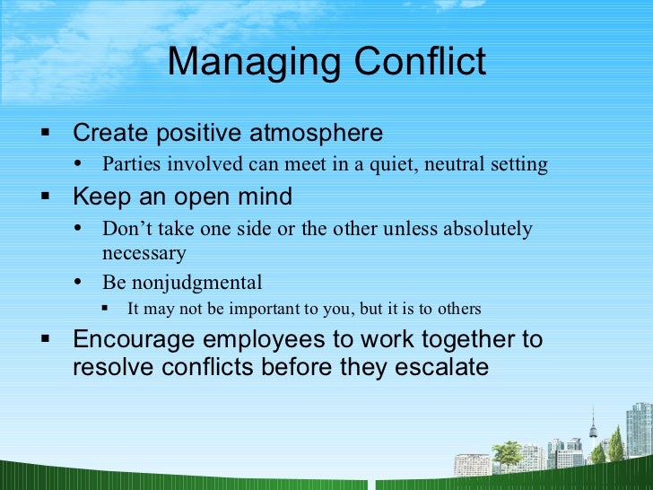 managing stress and conflict Stress and conflict by joe and cindi ferrini part of the special  the long-term success of any relationship depends on how well a couple is able to handle routine stress and the conflict that can result  in managing and resolving conflict, we provide our child(ren) and spouse the stability we all desire need help finding a counselor.