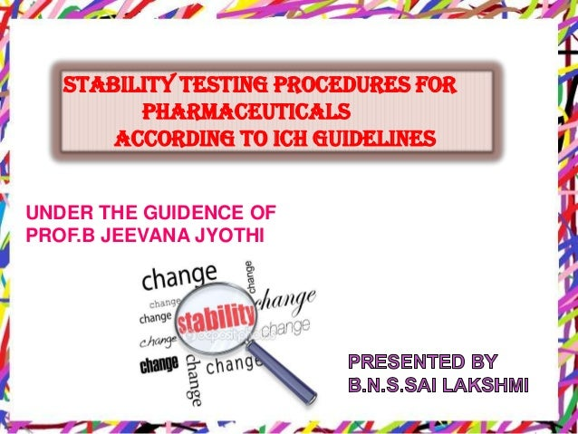 Stability testing procedures for pharmaceuticals according to ICH guidelines UNDER THE GUIDENCE OF PROF.B JEEVANA JYOTHI