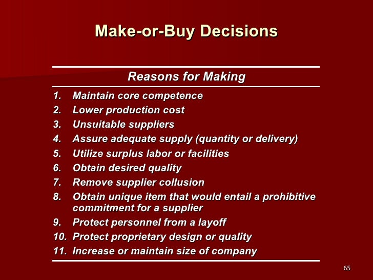 make or buy decision Another consideration in a make or buy decisions is whether the firm has alternative uses  opportunity cost enters into your decision-making criteria when.